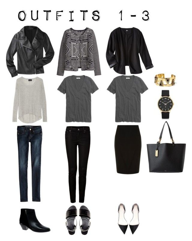 Outfits 1-3 from the 5 Piece Item French Wardrobe by designismymuse on Polyvore featuring H&M, Line, Madewell, Mossimo, American Eagle Outfitters, 7 For All Mankind, Dorothy Perkins, ASOS, Zara and Lauren Ralph Lauren