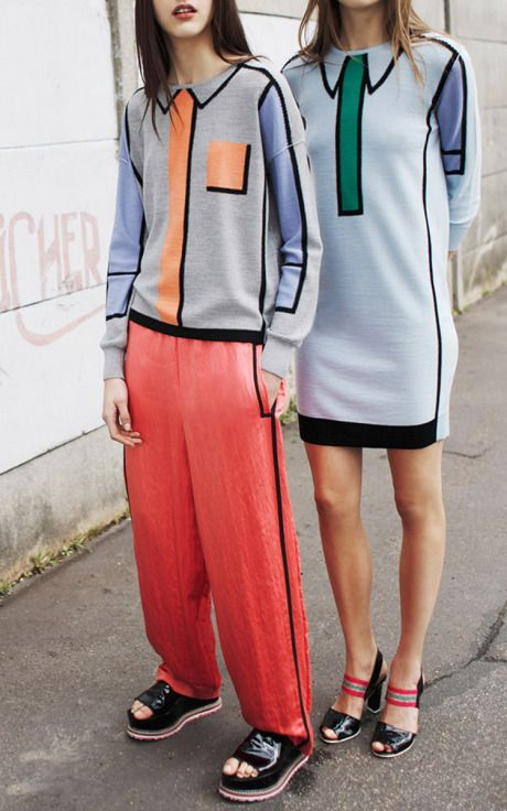 Trompe L'Oeil Intarsia Light Wool Knit Dress by Sonia Rykiel for Preorder on Moda Operandi
