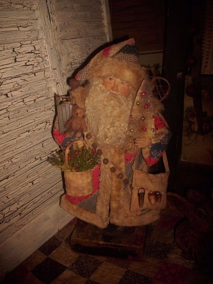 Primitive Santa Claus Doll Figure, Antique quilt, Vintage fur, Handmade OOAK   eBay