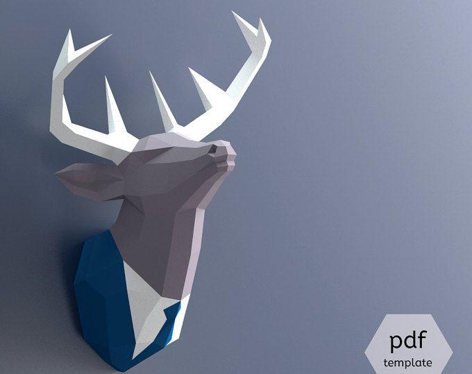 machen sie papercraft hirschkopf ihre eigenen troph e papier trophy pdf papercraft hirschkopf. Black Bedroom Furniture Sets. Home Design Ideas