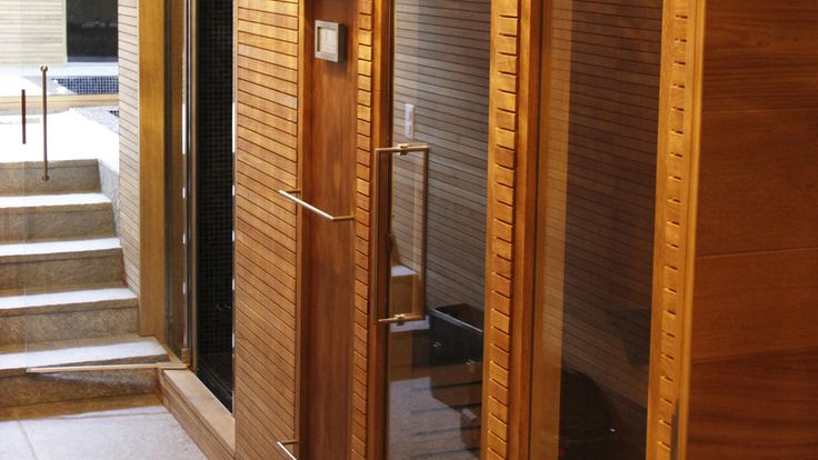 Villa a Samedan – Wooden door for sauna Roncoroni Moretti