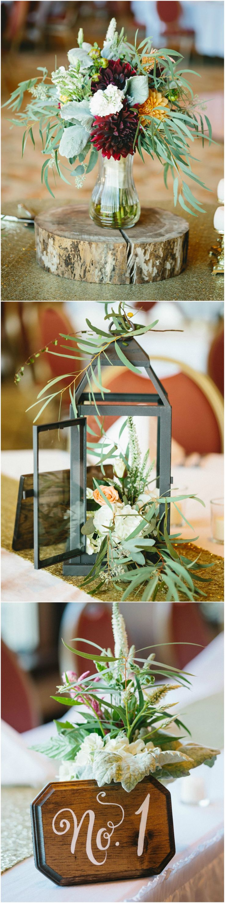 Rustic romance, wedding table centerpieces, burgundy dahlias, lantern, tree stump base // Be Light Photography