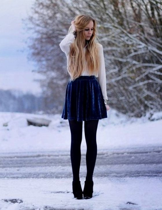 Blue Velvet Skirt 2017 Street Style
