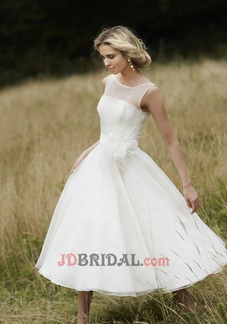 Charming Scoop Sleeveless A-Line Chiffon Mid-Calf Length Chiffon with Hand-Made Flower Drapped Empire Wedding Gowns
