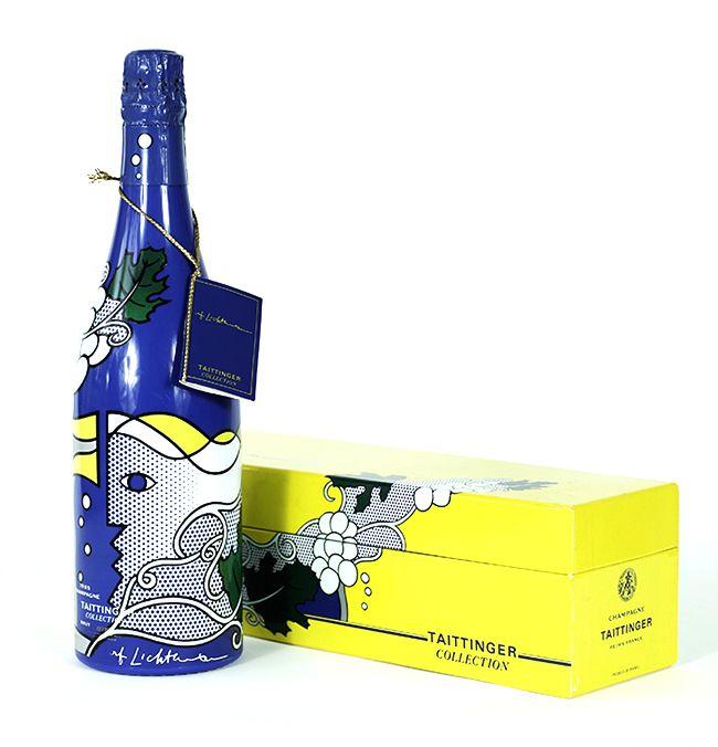 Roy Lichtenstein: Champange Taittinger Brut Bottle  <br> Vintage 1985 (released 1990)  <br> Screenprint, in white, light green, silver, yellow, green, and black, on blue polyester from encasing the glass bottle.  <br>   <br> Dimensions: 13 1/2 In (height), 3 3/4 In (diam. of base)  <br>   <br> Inscriptions: Signature (rf Lichtenstein) is screenprinted in white, along bottom edge of bottle  <br> Edition: 100000  <br>   <br> Publisher: Taittinger, Reims, France  <br> Printer: Quadra…