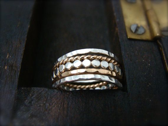 the gathering  mixed metal stacking rings by sirenjewels on Etsy