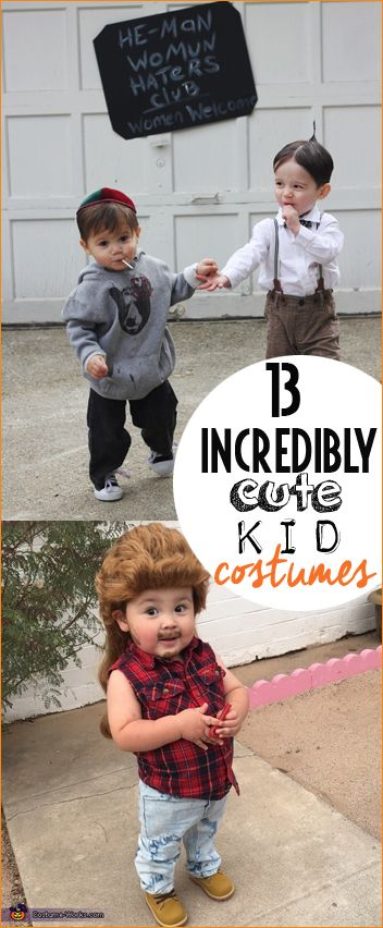 13 Incredibly Cute Kid Costumes.  Awesome DIY children's Halloween costumes.  Funny costumes for little ones.  Costumes for boys or girls.