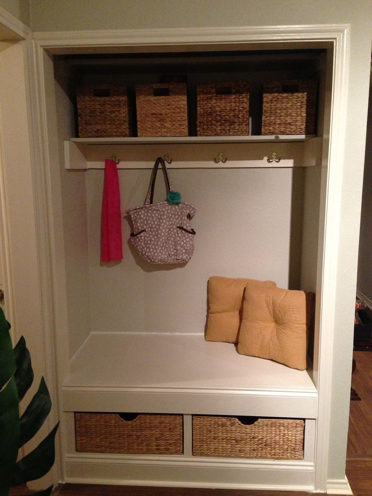 How to Transform a Closet Into a Nook. Maybe this is the solution to those horrible sliding closet doors in the front hallway