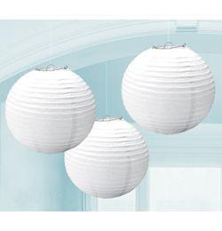 Biely guľatý lampión - 24 cm, 3 ks/bal