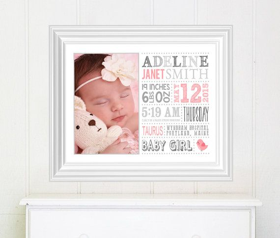 Unique baby gift, Custom baby gift, Nursery Art, Birth Details, Baby Shower Gift, Subway Art, Personalized baby gift, Baby Stats by sugarpickledesigns. Explore more products on http://sugarpickledesigns.etsy.com