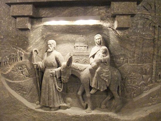 Krakow: carving in the salt mine. Carved out of salt!