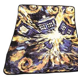 """Doctor Who Throw Blanket – Exploding TARDIS Design – 50″ x 60″ – Dr. Who Pandorica Micro Raschel Throw Blanket. This blanket is inspired by the episode """"The Pandorica Opens"""" with the Eleventh Doctor, and illustrates Van Gogh's painting depicting the opening Pandorica. Feel out of this world when you wrap yourself in this super […]"""