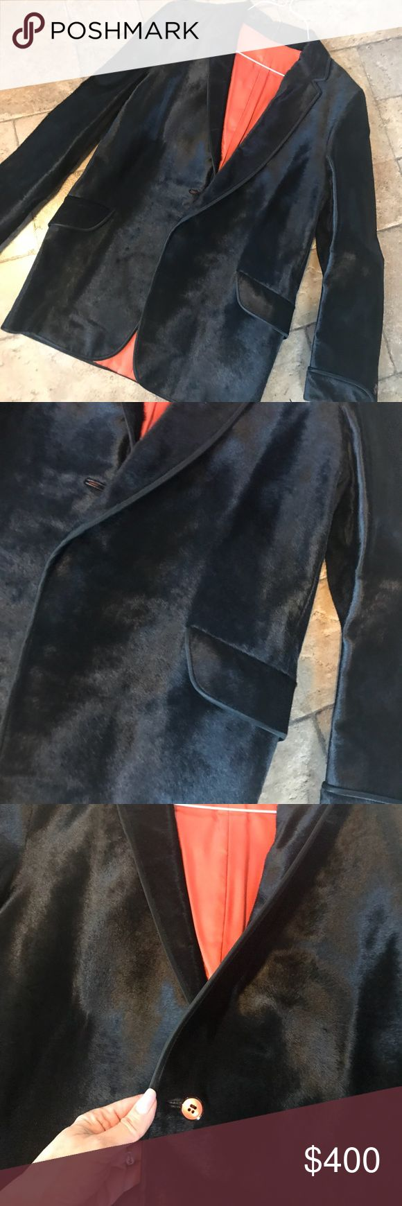 Vintage Black Fur Men's Sports Jacket Not sure of the fur Very low pile Great condition  Has been at my Grandmother's ever since I could remember. At least 40 yrs or so that I know. Tag reads auth Fur Vintage Jackets & Coats