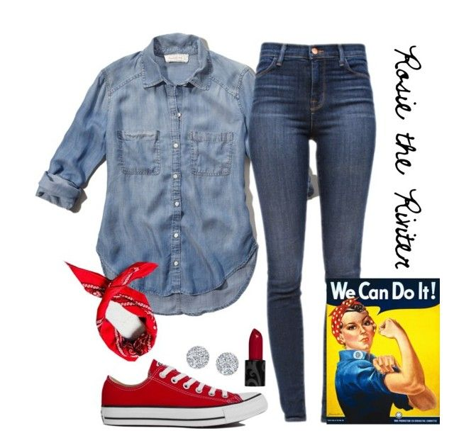 """""""👻Rosie the Riviter🎃"""" by anappleadaykeepsfashionuptodate ❤ liked on Polyvore featuring Abercrombie & Fitch, J Brand, Converse, Anne Sisteron and Urban Renewal"""