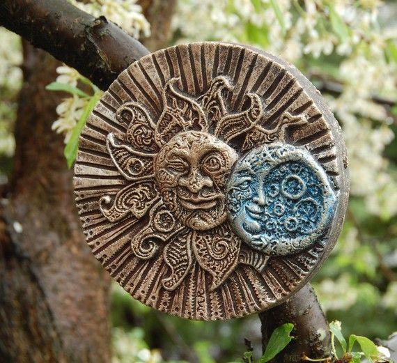 Garden Sunface Stone Art Sculpture Eclectic by InnovativeStoneArt, $22.00
