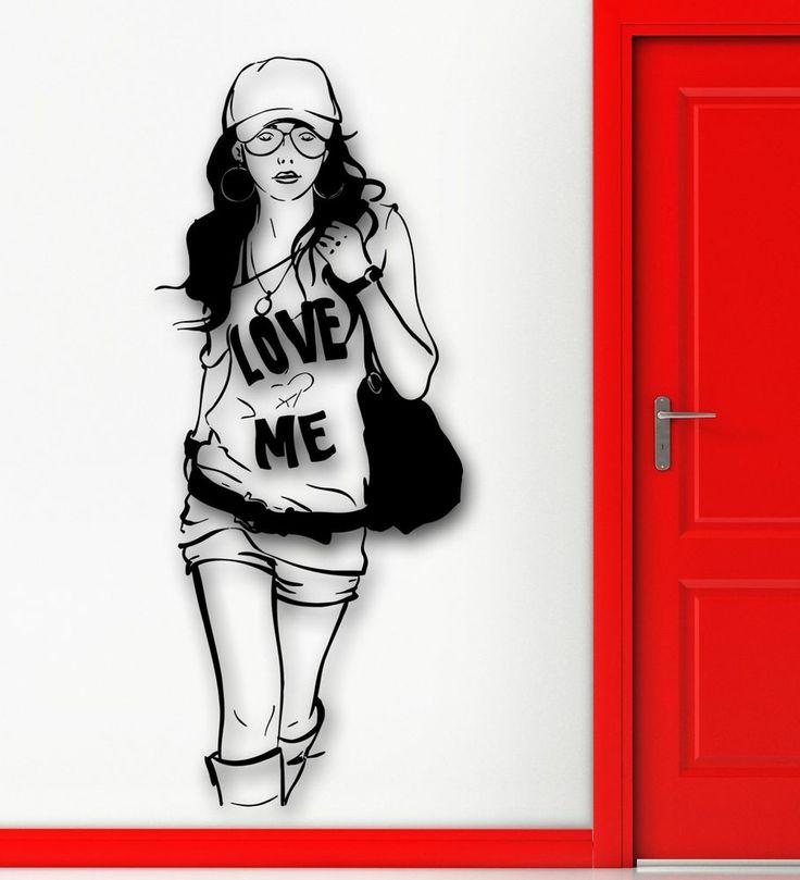 Wall <b>Sticker</b> Vinyl <b>Decal</b> Hot #<b>Sexy</b> #Girl Hipster Fashion Style <b>Cool</b> ...