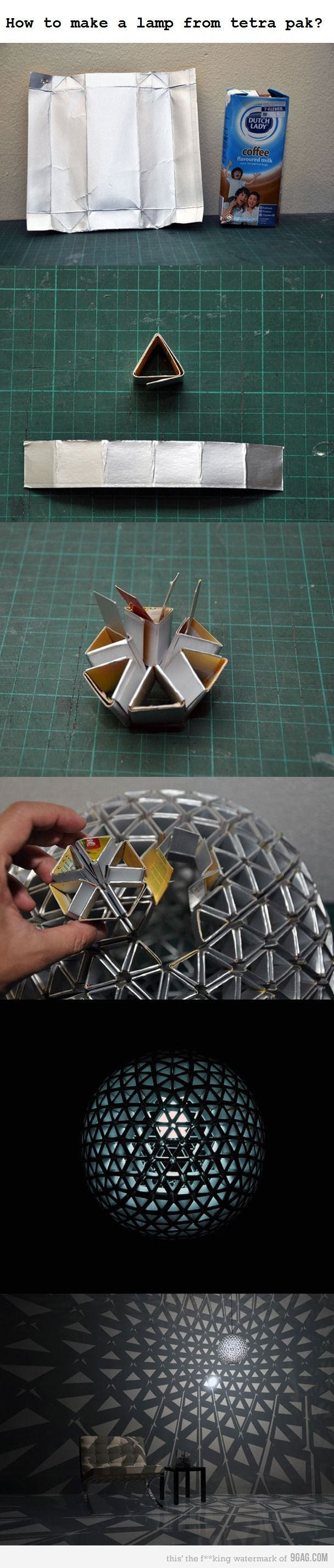 Recycled tetrapak lamp - I just don't know if I'd have the patience!