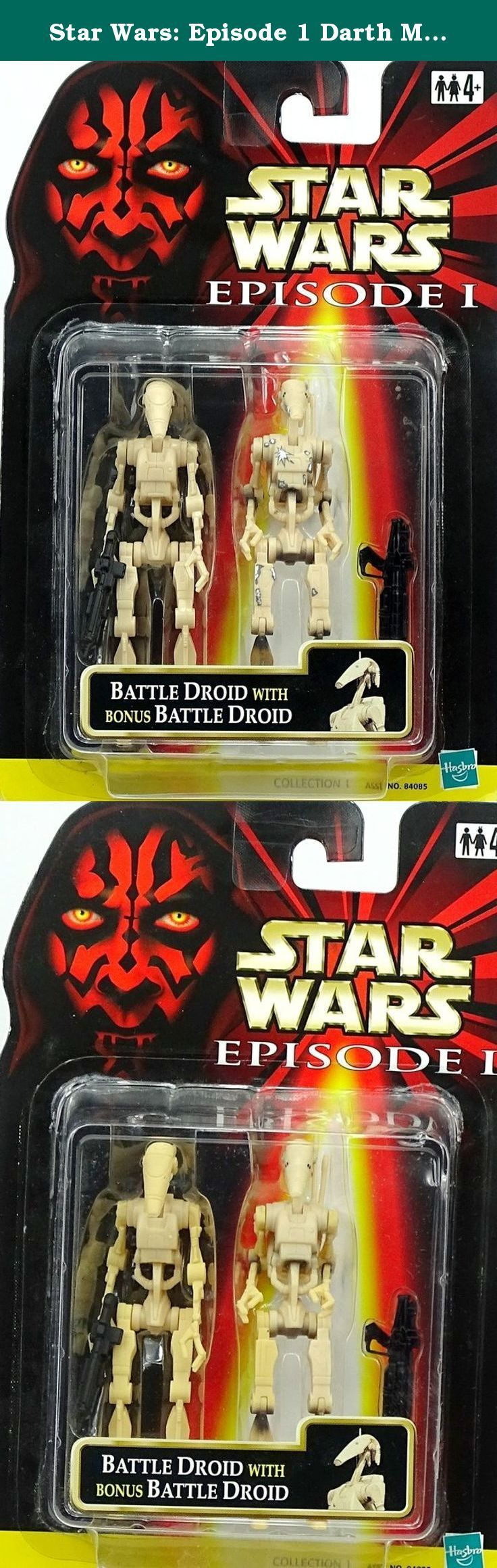 Star Wars: Episode 1 Darth Maul with Bonus Pit Droid Action Figure. Part of a repackaged figure wave that was distributed internationally, these sets were comprised of main characters from Episode I paired with either a battle droid or pit droid. This particular set featured the Sith Lord version of the enigmatic Darth Maul (who looks like he has heartburn) paired with a white Pit Droid. The figures are identical to the single packed US versions and come with the same accessories; however...