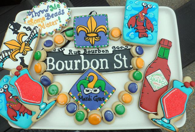 Mardi Gras Madness, Bourbon Street, Louisiana, New Orleans #cookies    by Vicki's Sweets, via Flickr