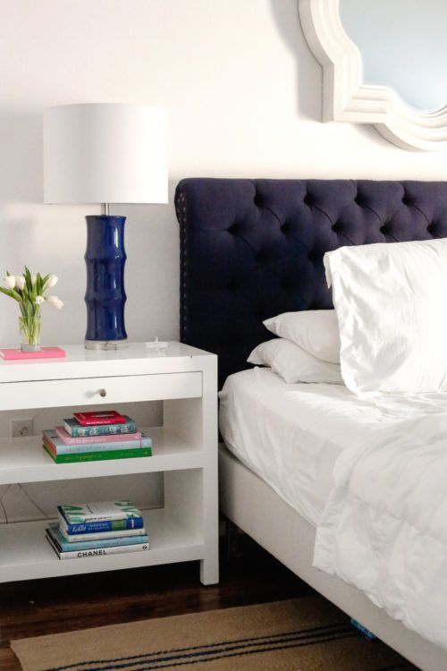pottery barn chesterfield headboard navy bamboo lamps wisteria bedside table on design darling