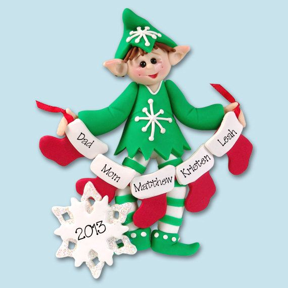 Elf with Candy Canes  Polymer Clay by PersonalizedOrnament on Etsy, $14.95