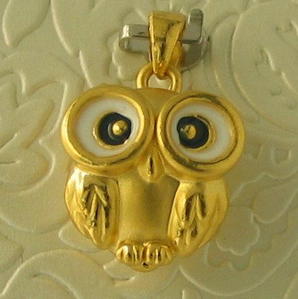 So So Cute this little 24ct Gold and Enamel Owl Pendant - $650-
