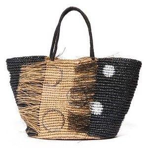 Sensi Studio Frayed Polka Dot Maxi Tote Bag