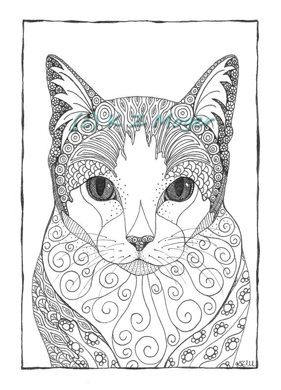 630 best Adult Colouring~Cats~Dogs ~Zentangles images on