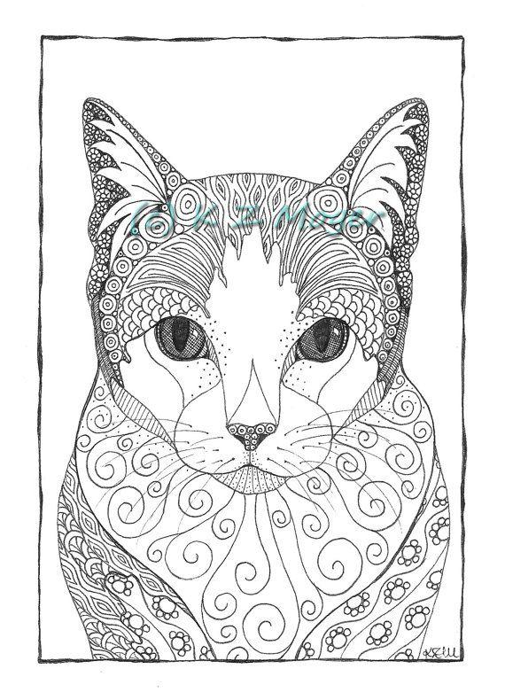 Les 228 meilleures images du tableau coloriage chat sur pinterest coloriage chat animaux et chats - Chat a colorier adulte ...