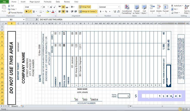 Bank Deposit Slip Template Excel