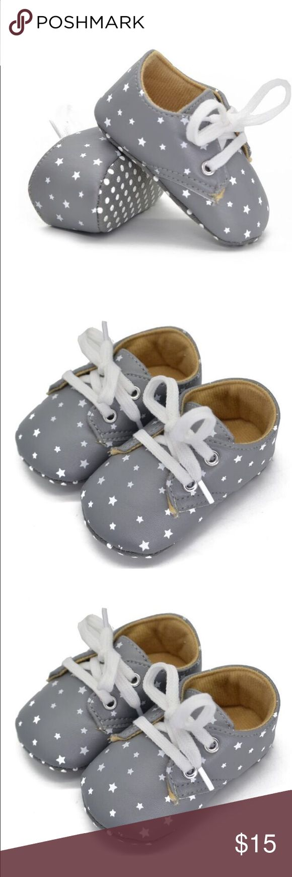 baby crib shoes! Gray with white stars size 3 baby crib shoes! Gray with white stars size 3. The order said size 2 but fits more like a size 3. These shoes match almost everything! Shoes Baby & Walker