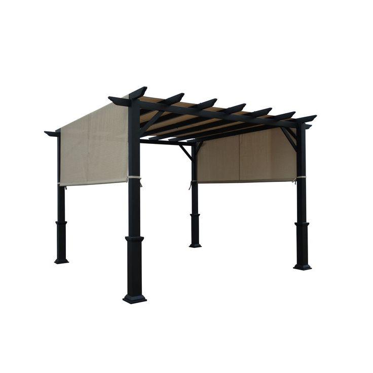 Garden Treasures 134-in W x 134-in L x 92-in H x Matte Black Powder Steel Freestanding Pergola Canopy Included