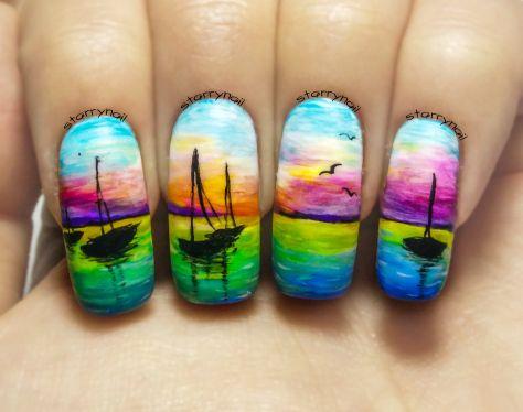 Sunset at Sea ⎮ Freehand Nail Art Tutorial