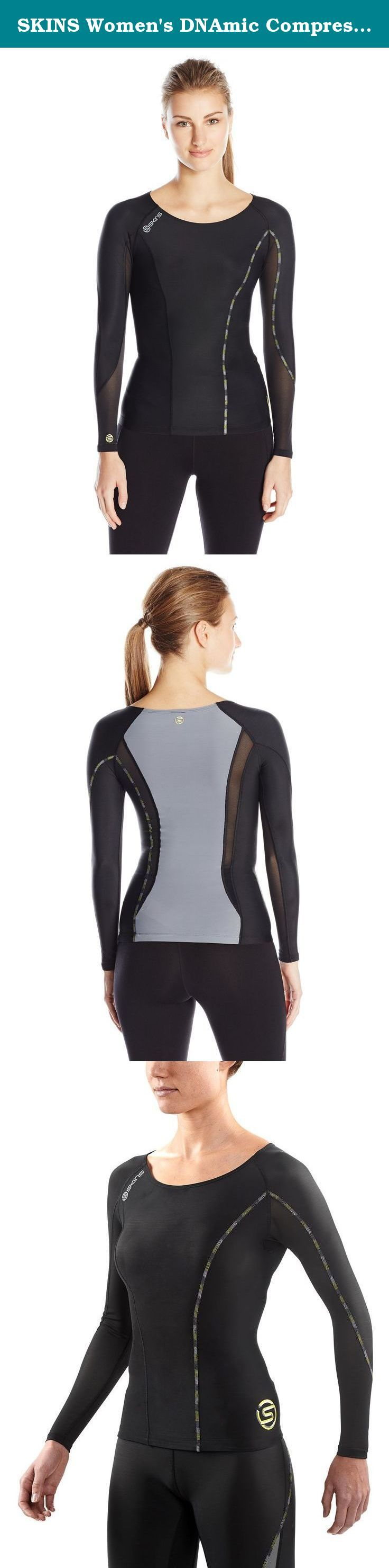 SKINS Women's DNAmic Compression Long sleeve Top, Black/Limoncello, X-Large. The SKINS dynamic range brings our original scientifically proven sports compression clothing line to new fit and performance highs. If your sport means that you need to push your upper body to the limit and be fighting fit the next morning, then the dynamic compression top is what you're in need of. Our engineered gradient compression increases blood flow and oxygen supply to your muscles to improve your...