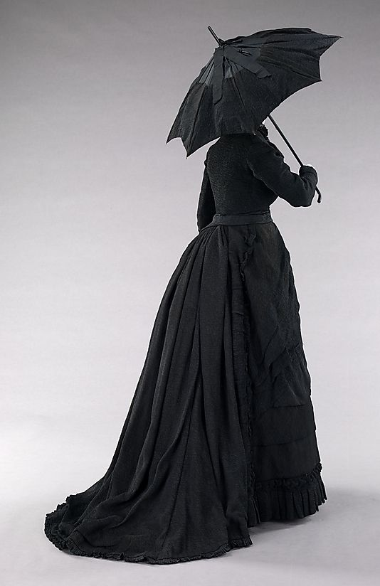Silk Mourning dress with bustle and parasol, 1870