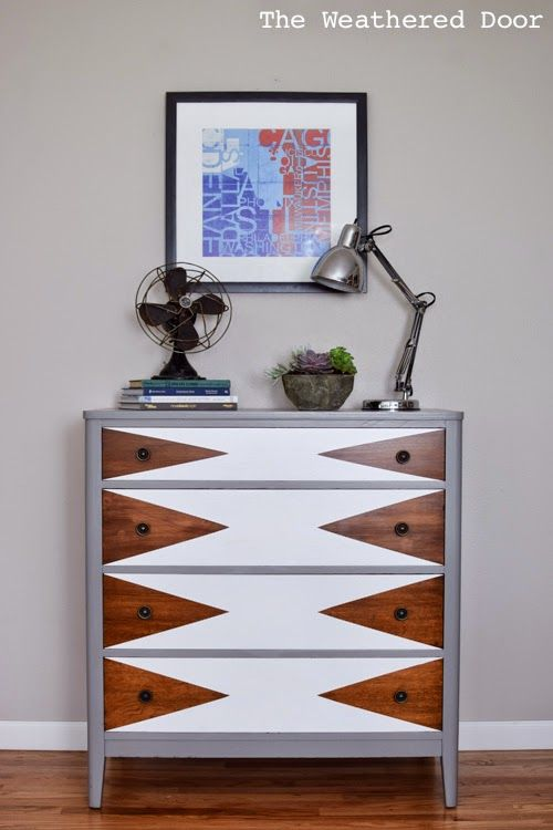 Fun mid century make over of a wood dresser.