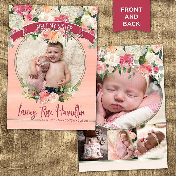 Baby Girl Birth Announcement Photo Birth Announcement