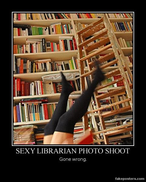 sexy librarian photoshoot. Gone wrong. Or gone right ...