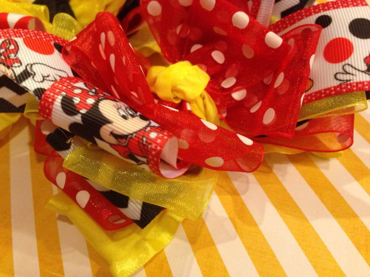 Minnie Mouse Mickey Mouse Disneyland double ruffle bow or headband with polka dots