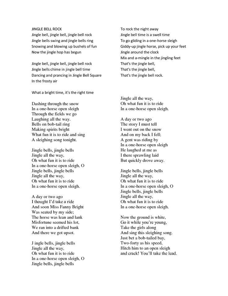 lyrics to jingle bell rock   scope of work template   Christmas songs lyrics, Christmas carols ...