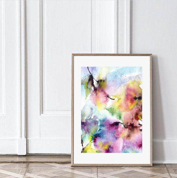 Peinture A L Aquarelle Avec Des Fleurs Pourpres Impression De
