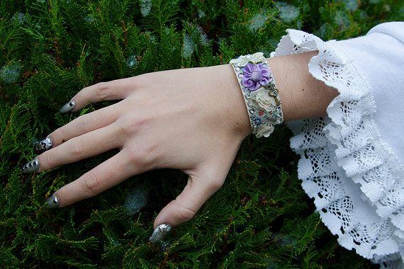 LOLITA BRACELET colorful white bridal cuff by DarkDesireStore