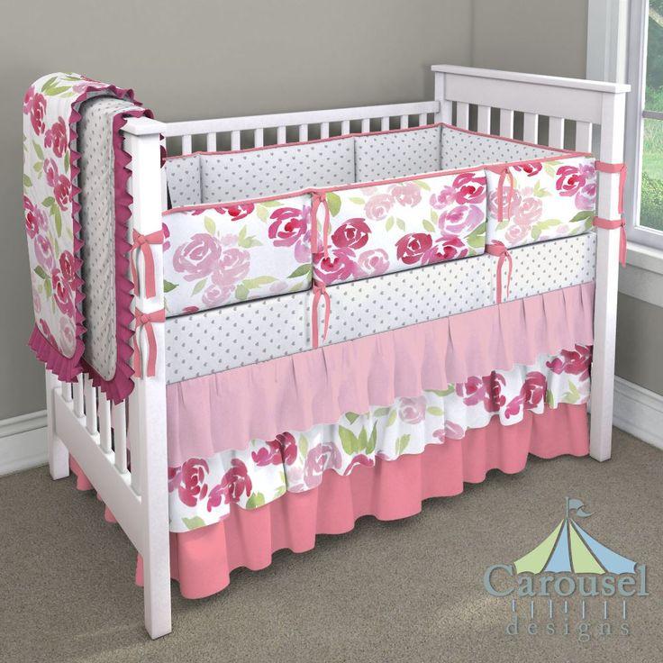 Crib bedding in Solid Bubblegum Pink Watercolor