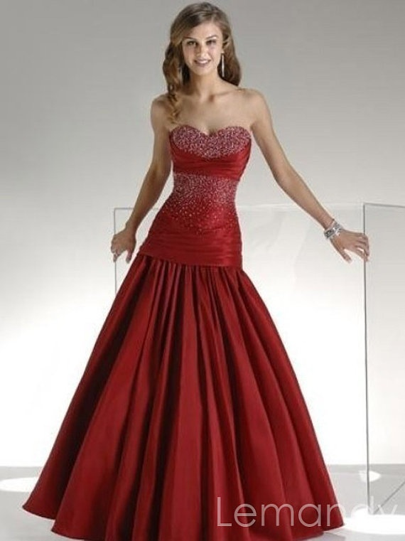 Burgundy Strapless Sweetheart Beaded Satin Mermaid Evening Dress