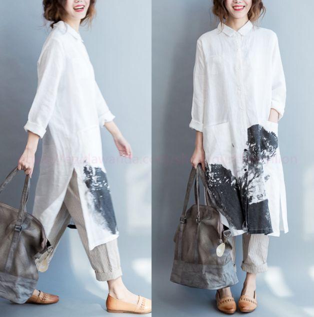Maxikleider – Frauen Lose Beiläufige Leinen Hemd Kleid – ein Designerstück von Ounthenyllion bei DaWanda