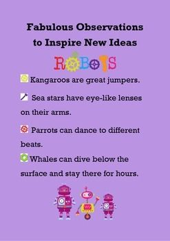 FREE- Printable  FABULOUS OBSERVATIONS TO INSPIRE NEW IDEAS - ROBOTS - TeachersPayTeachers.com