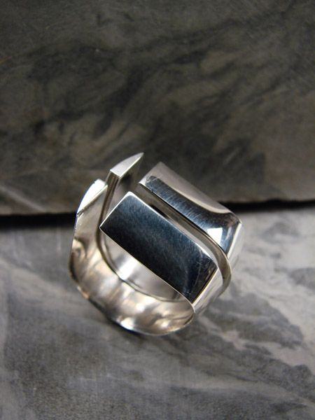 Ring | Christine L Sundt.  'Separate but Equal'  Sterling silver