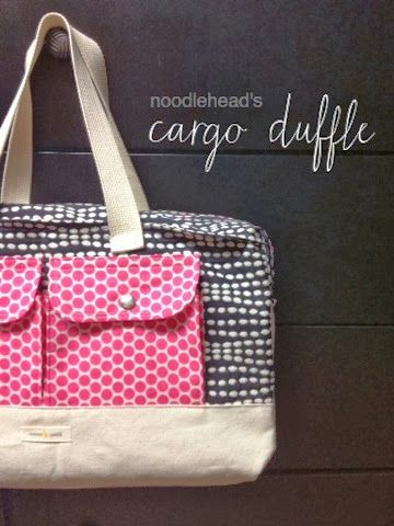 Steph Zerbe Design: Sew Saturday: cargo duffle bag - LOVE the fabric choices
