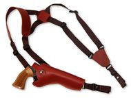 "New Burgundy Leather Vertical Cross Harness Gun Shoulder Holster for 6"" Revolvers (63/6BU)"