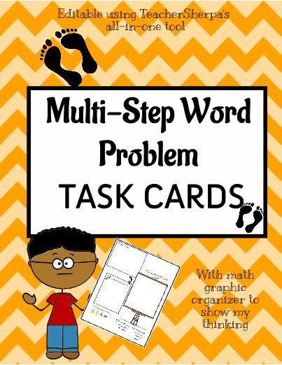 This Set of 8 Task Cards contain 8 different multi-step math word problems that can be used by your students to practice their step by step word problem skills. Answer Key is also included to make it easy on YOU!